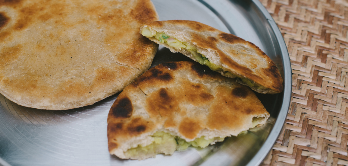 aloo paratha, stuffed with potatoes, potato bread, stuffed potato bread