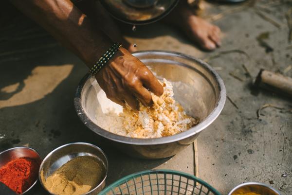 mixing batter chickpea flour turmeric