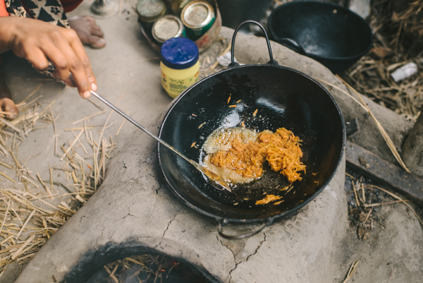 saute carrots wok kadai
