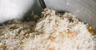 stirring pulao rice