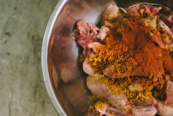mix in spices chicken